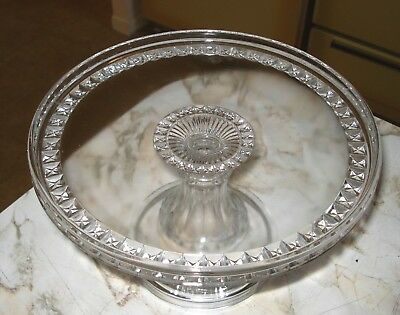 Antique EAPG Clear Glass Connecticut State Pattern Cake Plate Stand w/ Rum Well