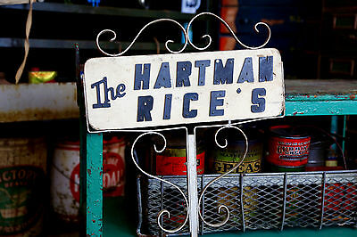 Vintage Aluminum Frame Wood House Sign HARTMAN RICE's Garden Yard Art Salvage