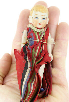 """Old Vintage Antique Porcelain Miniature 5"""" Girl Doll Toy W/ Jointed Arms & Legs"""