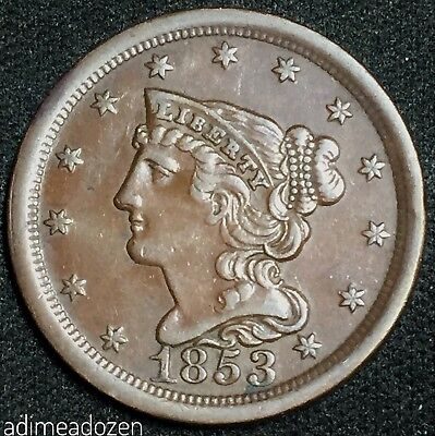 1853 1/2C Braided Hair Half Cent D7348