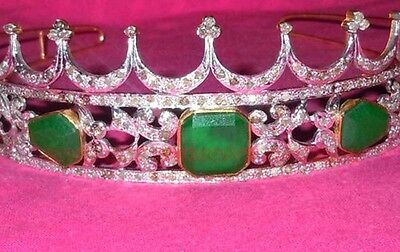 ESTATE ART DECO ANTIQUE ROSE CUT DIAMOND 12.32ct SILVER 925% EMERALD TIARA CROWN