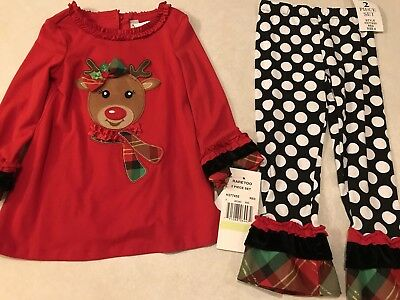 NWT Rare Editions Christmas Holiday 2 Piece Outfit Leggings Top Reindeer Size 4