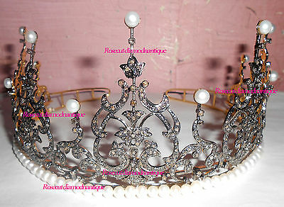 REPRO VINTAGE ROSE CUT DIAMOND 12.66ct STERLING SILVER PEARL WEDDING PARTY TIARA