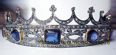 REPRO ART DECO ANTIQUE ROSECUT DIAMOND 12.32ct SILVER SAPPHIRE PARTY TIARA CROWN