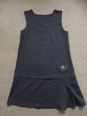 M&S girls grey jersey pinafore school dress size 7 years