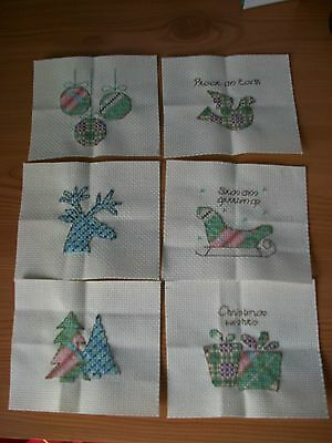 completed cross stitch- 6 x Xmas tartan designs (ideal for cards)