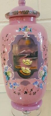 Victorian Pink Bristol Glass Large Ginger Jar With Water Lilies