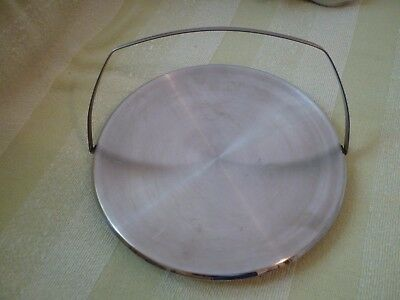 A Vintage Stainless Steel Cake Stand With Fold Down Handle - Chichester