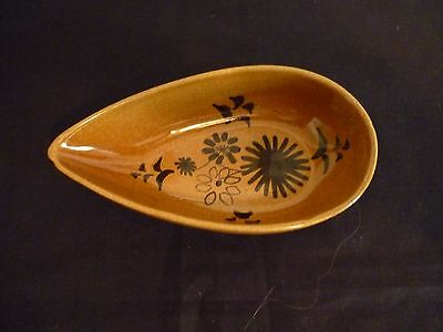 A Vintage Rye Pottery Pear Shaped Dish Decorated With Black Design