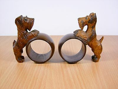 Pair Vintage Scottie Dogs Ethnic Hand Carved Wood Napkin Rings