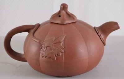 Chinese Yixing Pottery Melon or Pumpkin Form Teapot Signed
