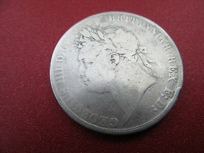 1821 geo IIII silver crown  fair grade