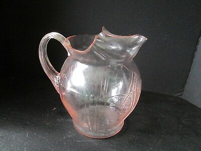 "1x American Sweetheart Macbeth McBeth Evans PINK DEPRESSION 8"" Water Pitcher"