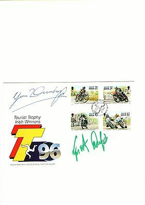 Isle of Man TT cover FDC signed by both Joey Dunlop and brother Robert Dunlop