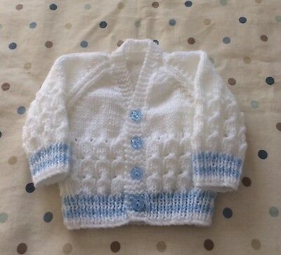 Brand New Beautiful Hand Knitted Baby boy's Cardigan   0/3 Months