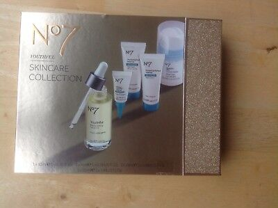 No 7 Youthful Skincare Collection in gold gift box, sealed.