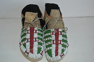 Antique Native American Sioux Beaded Moccasins sinew sewn 1850-1900