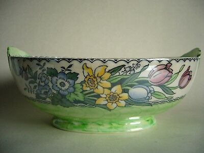 Maling Oval Lustre Bowl Springtime Green Thumbprint