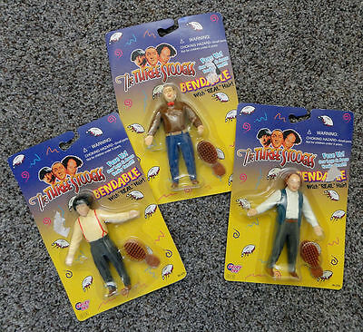 "The Three Stooges 5"" Action Figures MOE, CURLY, LARRY 1996 Gordy Sealed Packages"