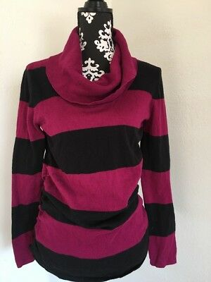 Oh Baby By Motherhood Size M Purple & Black Striped Cowl Neck Sweater Rouched