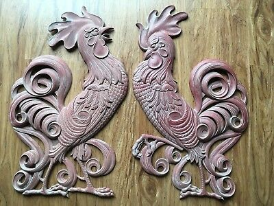 """Two Vintage Cast Metal Roosters 20"""" Wall Decor by Searcy"""