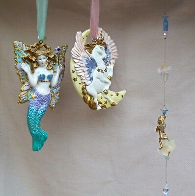Three Kirks Folly Hanging Ornaments - Fairy Mermaid, Unicorn + 1 Other