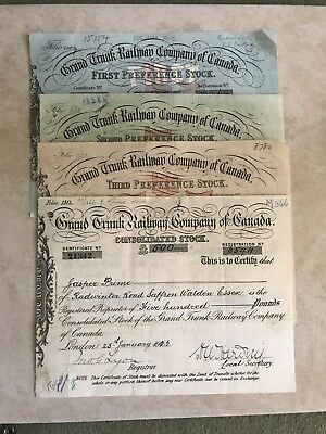 Grand Trunk Railway Company Four Different Certificates