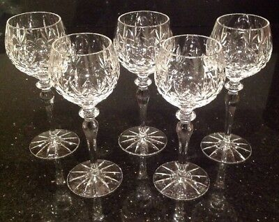 Set Of 5 Cut Glass Lead Crystal Hock Glasses In Perfect Condition