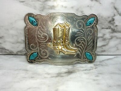 Nickle Silver Belt Buckle Cowboy Boots Turquoise Western Cowboy  L319