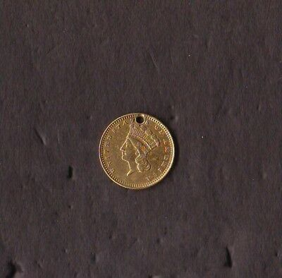 1873 Gold Dollar Holed at 12 O'clock Nicely Detailed Obverse Type Three
