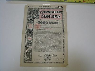 WW1 Berlin German War Reparations Bond, 2,000 Marks, 1920