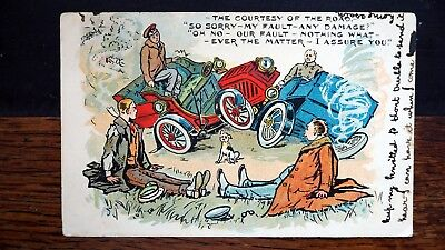 """COURTESY OF THE ROAD 1907 POSTCARD 'Dear Babe..."""" CAR ACCIDENT EVERYONE'S FAULT"""