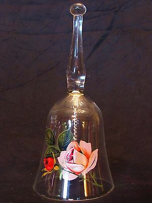 "Handcrafted 6"" Glass Bell with Red & Pink Roses by West Virginia Glass Co."