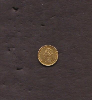 Type 3 Gold Dollar Former Jewelry piece Clean Obverse, pin removed from reverse