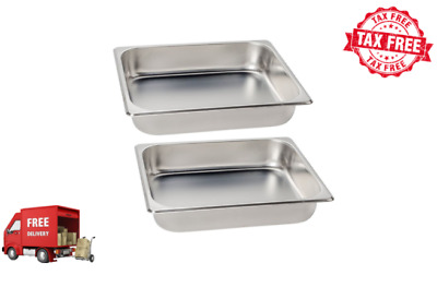 "2 PACK 1/2 SIZE Standard Weight Anti-Jam 2 1/2"" Deep Stainless Steel Hotel Pan"