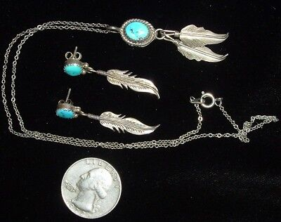 Vintage, Sterling Silver & Morenci Turquoise, Necklace & Earrings!
