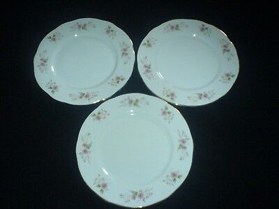 DUCHESS GLEN 316 Pink/Blue Flower Sprays BONE CHINA 8 1/4 in Plates x 3 c1950