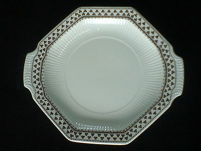 ADAMS Sharon Ironstone Brown/White 12 inch 2 handle 8 sided Cake/Serving Plate