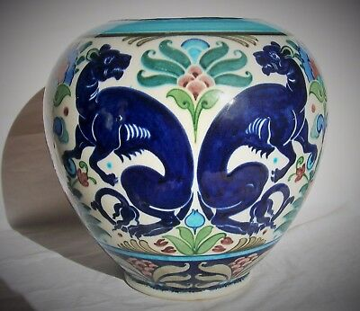 BURMANTOFTS FAIENCE JARDINIERE by LEONARD KING PERSIAN  ARTS and CRAFTS