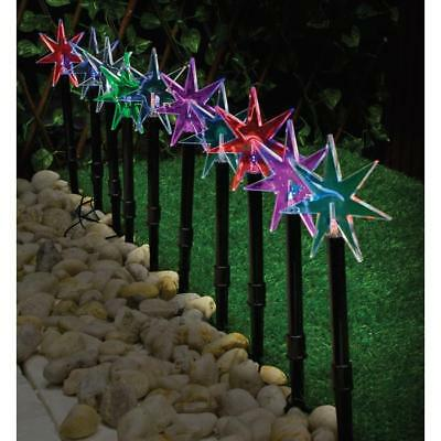 Solar Power Star Path Stake Lights 10pc Colour Changing Waterproof Outdoors