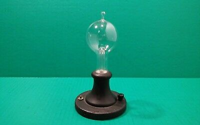 Original Antique Old Tipped Edison Light Bulb With Wood Base Ceiling -Wall -Desk