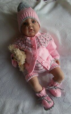 "Hand Knitted Dolls Clothes To Fit a 19/22"" Reborn or Similar Doll"