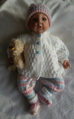 "Hand Knitted Dolls Clothes To Fit a 17/20"" Reborn or Similar Doll"