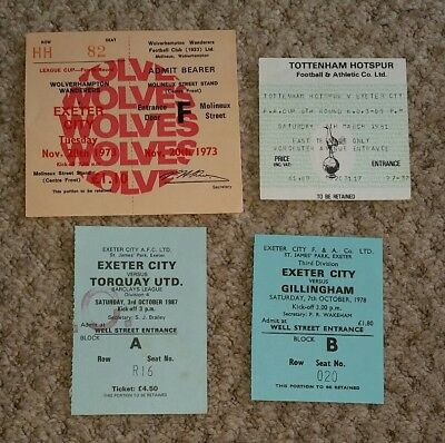 Set of 4 EXETER CITY  Original match tickets 1970s 1980s
