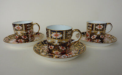 Royal Crown Derby, Imari Traditional Pattern 2451, Three Cups & Saucers 1914/15
