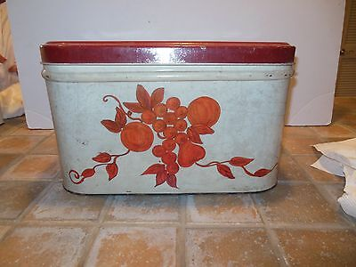 Vintage Decoware Metal Bread Box, Country Kitchen Red Fruit and Lid estate Sale
