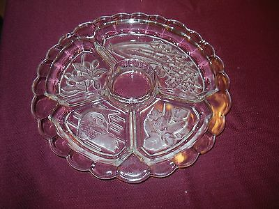 RELISH VEGETABLE TRAY 12 IN FLORAL 5 SECTION  ETCHED  GLASS Scallopped Edge
