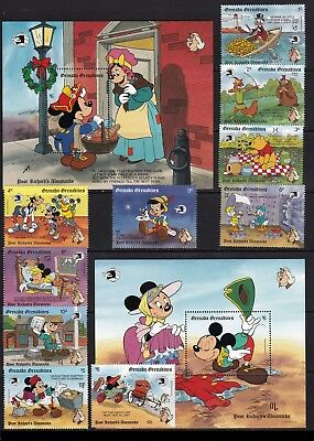 Grenada Grenadines disney cartoons christmas animation set+2s/s MNH