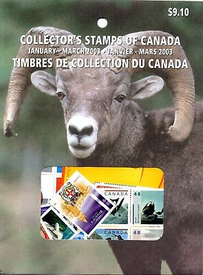 Canada 2003 Complete U/M Collection in 4 Quarterly Pre-Packs as Issued. Unopened