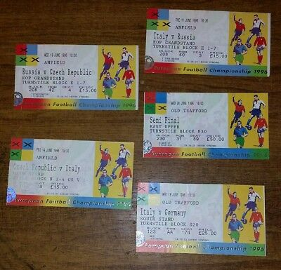 Set of 5x EURO 96 original match tickets at ANFIELD & OLD TRAFFORD ITALY FRANCE